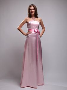 Baby Pink Empire Strapless Beading and Bowknot Dama Dress