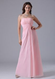 Simple Baby Pink Strapless Ruched Floor-length 2013 Dama Dress