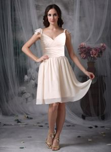Empire V-neck Off White Knee-length Dama Dress with Ruches