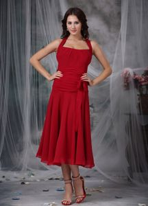 Halter Wine Red Column Tea-length Ruches and Bow Dama Dress