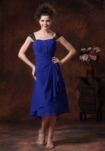 Straps Navy Blue 2013 Tea-length Ruched Ruched Dama Dress