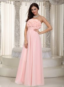 Baby Pink Empire Strapless Quince Dama Dresses with Flowering Bodice