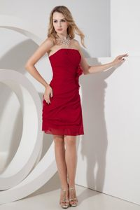 Wine Red Sheath Straplss Mini-length Quince Dama Dresses Pick-ups
