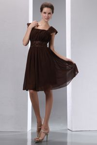 Brown A-line Square Beading Bridesmaid Dama Dresses Knee-length