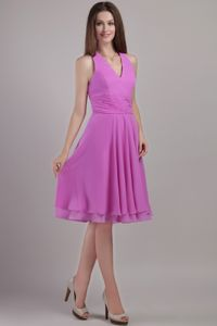 Lavender Empire Halter Top Knee-length Quince Dama Dresses Ruched