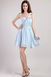 Light Blue Empire One Shoulder Mini-length Dama Dresses For Quinceanera