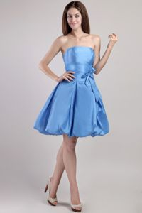 Lovely Blue A-line Strapless Mini-length Dama Dress with a Bow