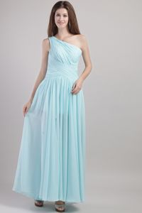 Elegant Light Blue One Shoulder Ankle-length Ruched Quince Dama Dresses