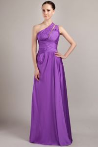 Amazing Beaded Purple One Shoulder Dama Dress for Quinceaneras