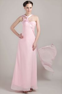 Unique Baby Pink Asymmetrical Straps Ankle-length Chiffon Dama Dress