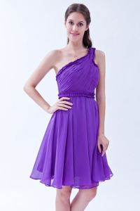 Pretty Purple One Shoulder Chiffon Ruched Prom Dresses for Dama