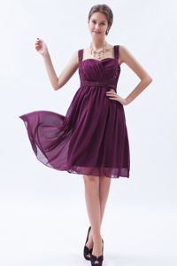 Dark Purple Beaded Straps Chiffon Cocktail Dresses for Dama