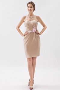 Champagne Sweetheart Mini-length Dama Dress with Hand Made Flower