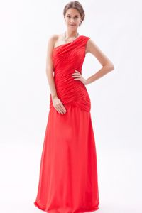 Modern Red One Shoulder Chiffon Ruched Prom Dresses for Dama