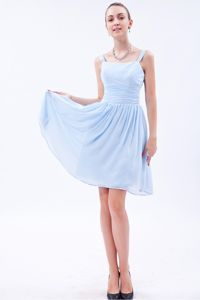 Latest Baby Blue Straps Knee-length Chiffon Ruched Dresses for Damas