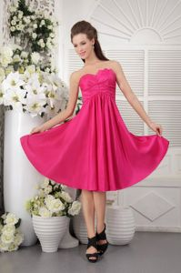 Discount Strapless Knee-length Taffeta Hot Pink Quince Dama Dresses