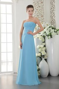 Elegant Light Blue Strapless Chiffon Formal Dresses for Dama
