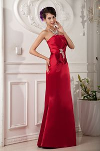 Custom Made Wine Red Strapless Beaded Formal Dresses for Dama