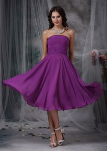 Purple Strapless Tea-length Chiffon Ruched Dresses for Damas