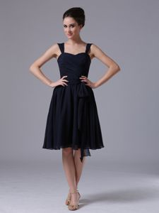 Simple Navy Blue Straps Knee-length Dama Dresses for Quinceanera
