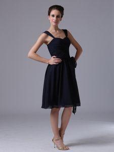 Simple Navy Blue Straps Knee Length Dama Dresses For