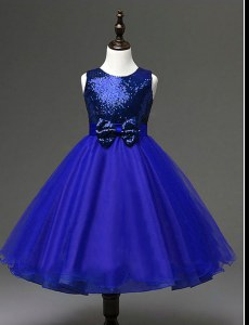 Comfortable Royal Blue Zipper Scoop Sequins and Bowknot Flower Girl Dresses Organza Sleeveless