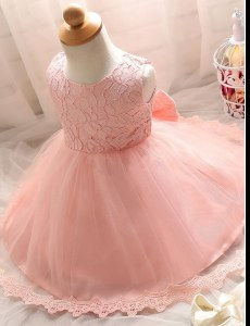 Scoop Floor Length Zipper Flower Girl Dresses Baby Pink for Party and Wedding Party with Lace