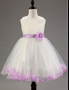 Square Sleeveless Toddler Flower Girl Dress Knee Length Beading and Hand Made Flower White and Lavender Tulle