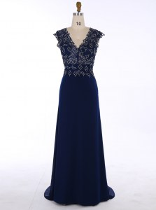Navy Blue A-line Chiffon V-neck Sleeveless Appliques Zipper Mother of Groom Dress Sweep Train