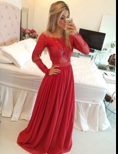 Floor Length Red Mother of Bride Dresses Off The Shoulder Long Sleeves Zipper
