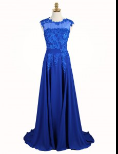 Deluxe Scoop Appliques Mother of Groom Dress Royal Blue Zipper Sleeveless Brush Train