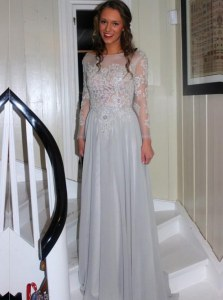 Grey A-line Appliques Mother of the Bride Dress Backless Chiffon Long Sleeves Floor Length