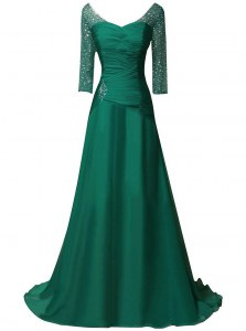 Chiffon V-neck Long Sleeves Sweep Train Zipper Beading and Ruching Mother of Bride Dresses in Green
