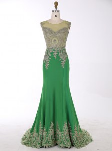 Classical Mermaid Chiffon Scoop Sleeveless Brush Train Zipper Beading and Appliques Mother of the Bride Dress in Green