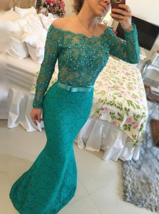 Mermaid Lace Floor Length Green Mother of Groom Dress Bateau Long Sleeves Backless