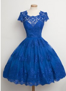 Square Cap Sleeves Mother Dresses Knee Length Lace Royal Blue Lace