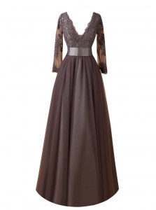 Fantastic Brown Long Sleeves Organza Zipper Mother of the Bride Dress for Wedding Party