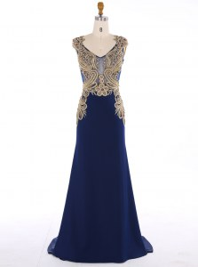 Mermaid V-neck Sleeveless Mother of Bride Dresses Sweep Train Appliques Navy Blue Chiffon