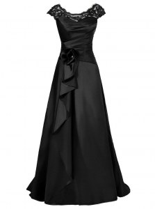 Amazing Scoop Cap Sleeves Chiffon Floor Length Zipper Mother Dresses in Black with Beading and Appliques