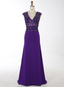 Modern Mermaid Purple Zipper Mother of the Bride Dress Beading Sleeveless With Brush Train