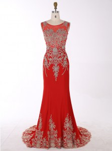 Chic Red Mermaid Scoop Sleeveless Chiffon With Brush Train Zipper Beading and Appliques Mother Dresses