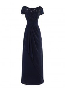 High End Scoop Short Sleeves Floor Length Zipper Mother of Bride Dresses Navy Blue for Wedding Party with Lace and Ruching