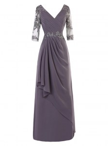 Custom Made Grey A-line V-neck Long Sleeves Chiffon Floor Length Zipper Beading and Appliques and Ruching Mother of the Bride Dress