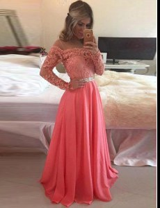 Customized Watermelon Red A-line Scoop Long Sleeves Chiffon Floor Length Zipper Beading and Appliques Mother Dresses