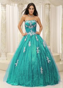 Shimmery Strapless Appliques Tulle Sweet 15 Dresses with Paillette