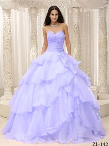 Lilac Multi-layer Organza Quince Dresses with Floral Embellishment