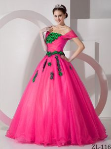 Off the Shoulder Organza Quinces Dress with Floral Embellishment