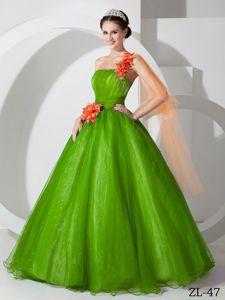 Best Hand Made Flowers One Shoulder Sweet 15 Dresses in Green