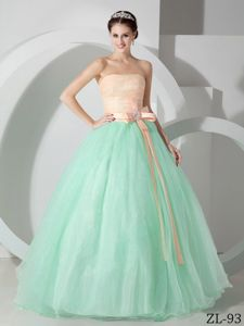 Simple Organza Strapless Dresses for Quince with Beaded Bowknot
