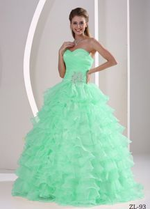Princess Beaded Apple Green Sweet 15 Dresses with Ruffled Layers